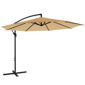 SONGMICS Sonnenschirm, Ampelschirm Ø 300 cm, UV-Schutz bis UPF 50+, mit Kurbel zum Öffnen und Schließen, Sonnenschutz, Gartenschirm, taupe GPU016K01