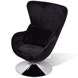 Huicheng Drehsessel Sessel in Ei-Form Schwarz Samt