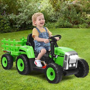 COSTWAY 12V 3-Gang Elektrotraktor mit abnehmbarem Anhänger, Kinder Aufsitztraktor mit LED Lichtern, Musik, Hupe USB & Bluetooth Audio Funktionen, Traktor für Kinder ab 3 Jahren