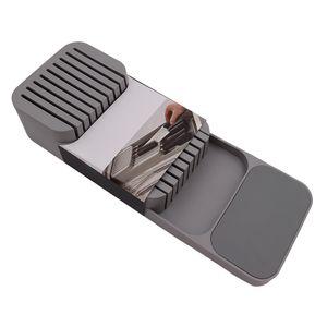 In-Drawer Knife Block haelt Kitchen Drawer Organizer Tray fuer Messer Küchenablage (Grau)