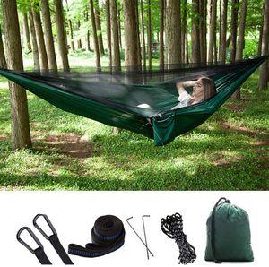 3-in-1-Camping-Hängematte mit Reißverschluss-Moskitonetz und Zeltplane 300 kg Tragfähigkeit Hängematten (Grüne Plane)