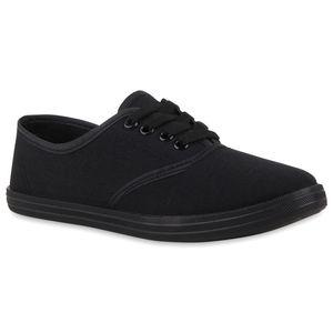 Mytrendshoe Damen Sneakers Freizeit Schuhe Stoffschuhe Trendfarben 75308, Farbe: Schwarz, Größe: 39