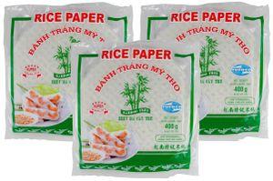 [ 3x 400g ] BAMBOO TREE Reispapier, rund Ø 22cm für Frühlingsrollen / Bahn Trang My Tho / aus Vietnam