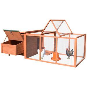 PawHut Hühnerstall Hühnerhaus Geflügelstall Kleintierkäfig mit Nistkasten Eierkiste mit 2 Fächern, Tanne, Draht, Asphalt, 145x221x81 cm, Orange+Grün