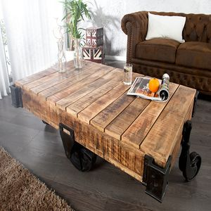 Massiver Design Couchtisch RAILWAY 120cm Mangoholz mit 4 Rädern Beistelltisch Sofatisch Wohnzimmertisch