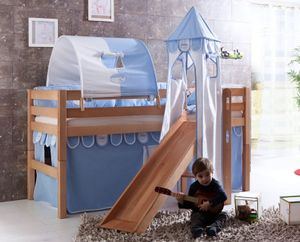 Hochbett ELIYAS Kinderbett mit Rutsche Spielbett Bett Natur Stoffset Blau/Boy, Matratze:mit