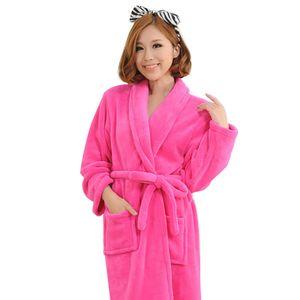 Schicke Frauen Männer Einfarbig Langarm Taschenschärpe Bademantel Nachtwäsche Nachtwäsche  Rosenrot  XL