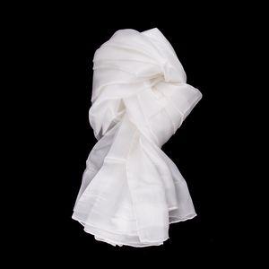 Seidenschal Halstuch Schal Tuch naturweiß weiss Seide 150x35cm