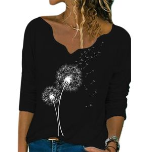 Lässiges T-Shirt mit langem Ärmel und V-Ausschnitt für Damen,Farbe: Schwarzer Löwenzahn,Größe:M