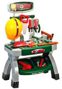 MalPlay Spielwerkzeug | Werkbank Kinder | Spielset mit Schraubenschlüssel, Schutzhelm und Hammer | Rollenspiele Pädagogisches Lernen Geschenk für Kleinkinder ab 3 Jahre