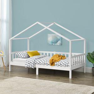 Kinderbett Kongsvinger mit Rausfallschutz und Stauraum Bettenhaus Kiefernholz Weiß 90x200 cm