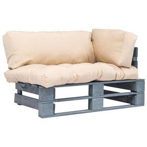 Eleganter Garten-Palettensofa Sofa Couch mit Sandfarbigen Kissen Kiefernholz #DE586358