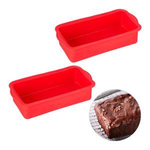 relaxdays 2 x Kastenform Silikon, Brotbackform, Backform Kuchenform, Kastenkuchenform rot