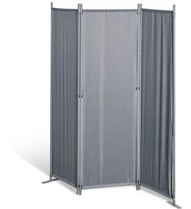 Grasekamp Stellwand 165x170 cm dreiteilig - grau -  Paravent Raumteiler Trennwand  Sichtschutz