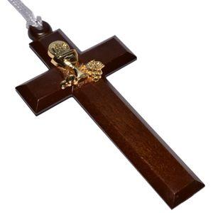 Kommunion Kreuz Umhängekreuz Holz mit Metall-Dekor gold, 10cm