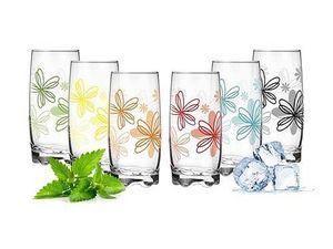 6 Longdrinkgläser Blumenmix 350ml Saftgläser Wassergläser Trinkgläser