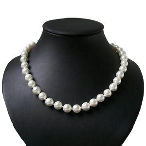 Perlenkette Muschelkern Perlen creamweiß 10mm Collier Braut K2031
