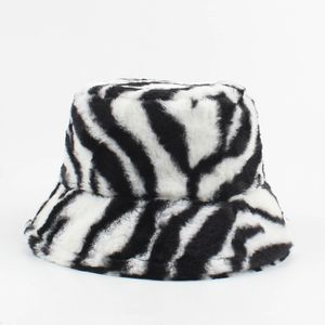 Frauen Winter Bucket Hat Zebrastreifen Verstellbare warme Pluesch Fisherman Cap Komfortable Casual Hat