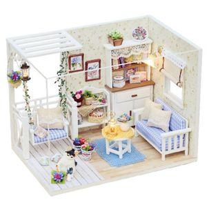 Puppenhaus Miniatur mit Moebeln DIY Puppenhaus Holz Kit Mini Haus Geschenke fuer Kinder