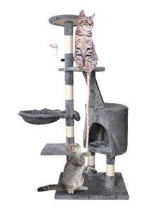 Katzenkratzbaum 118cm Kletterbaum Stabil für Katzen Klettergerüst 7935, Farbe:Grau-grey