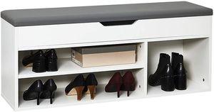 Meerveil Schuhbank aus E1 Holzspanplatte, Aufklappbare Schuhschrank mit Sitzkissen, Schuhregal, Sitzbank zur Schuhaufbewahrung mit Sitzfläche, 104 x 45 x 30 cm, Weiß