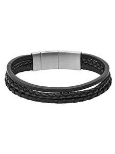 Fossil JF02935001 Armband Herren Vintage Casual Leder Multi-Strand Schwarz