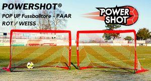 Pop Up Tor 180 x 120cm rot/weiss - Faltbares Fußballtor - 2er Set von POWERSHOT®