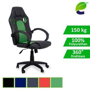 ecoMI - Gaming Stuhl Bürostuhl Schreibtischstuhl Computer Racing Sportsitz Chefsessel Drehstuhl - Grün
