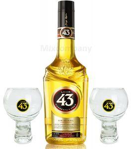 Licor 43 Set Geschenkset - Licor 43 0,7l (31% Vol) + 2x Gläser Glas- [Enthält Sulfite] Likör Liquor 43er