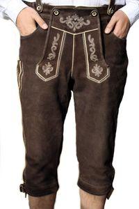 Trachten Lederhose trachtenhose Kniebundhose + Hosenträger Ziegenleder, Größe:44/XXS