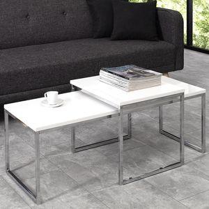 2er Set Design Couchtisch ELEMENTS 100cm weiß Hochglanz Chrom Beistelltische Satztische Wohnzimmertisch