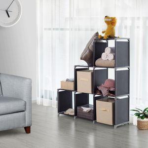 Songmics Raumteiler schwarz 105 x 105 x 29 cm Stufenregal Bücherregal Würfelregal Blumentreppe LSN63H