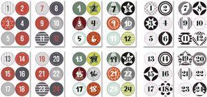 """folia Weihnachts-Sticker """"ADVENTSKALENDER"""" sortiert 3x4 Bögen (72 Sticker)"""