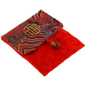 Retro Große Chinesische Rote Umschläge Geldumschlag Taschen Beutel für C018F-3 红 10,5 x 12,5 cm Welle rot