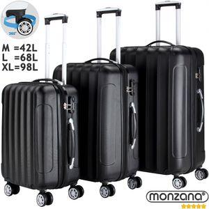 3tlg. Hartschalen Kofferset Reisekoffer | Schloss | Dehnungsfuge | ABS-Schale | Alu-Teleskopgriff | Trolley M, L, XL, Farbe:schwarz