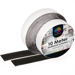 OfficeTree Klettband schwarz selbstklebend - 10 Meter lang ca. 20 mm breit