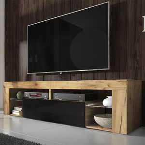 Selsey TV-Schrank BIANKO – TV-Lowboard Holz-Optik Lancaster Eiche mit Klappe in Schwarz Hochglanz Stehend 140cm