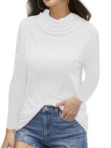 Damen Pullover Rollkragenpullover Damen Staubmaske T-Shirt Top,Farbe: Weiß,Größe:3XL