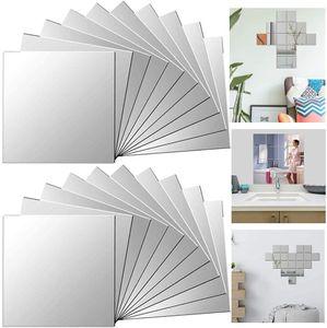32Pcs Spiegelfliesen Selbstklebend Dekorative Wandspiegel Spiegelkacheln Fliesenspiegel Spiegel zum Kleben