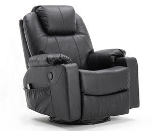 MCombo Leder Massagesessel Fernsehsessel Relaxsessel Dreh Schaukel Heizung USB manuell verstellbar