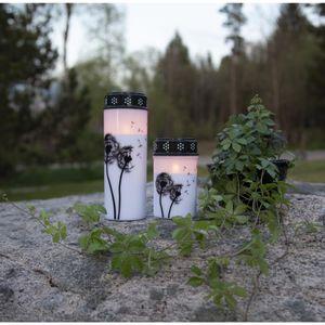 LED Grablicht/Grabkerze 'Pusteblume' - warmweiße LED - H: 21cm, D: 7cm - Timer - weiß/schwarz