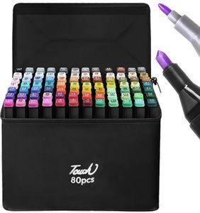Twin Tip Textmarker Dual Tip Permanent Sketch Marker 80 Farben  für Künstler Erwachsene Kinder Zeichnen Malen Basteln 14185 , Menge:80 Stück