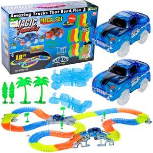 MalPlay Rennstrecken Magic Trucks Starter-Set | Leuchtend Auto-Rennstrecke | 360 Stück Tracks | 2 E-Autos + Rennbahnset | Spielzeug für Kinder ab 3 Jahren |