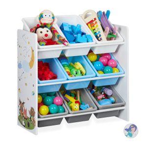 relaxdays Kinderregal mit 9 Boxen und Motiv