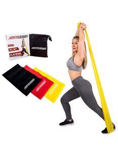 ActiveVikings Fitnessbänder Set 3-Stärken 1,2m Länge Ideal für Muskelaufbau Physiotherapie Pilates Yoga Gymnastik und Crossfit | Fitnessband Gymnastikband Widerstandsbänder