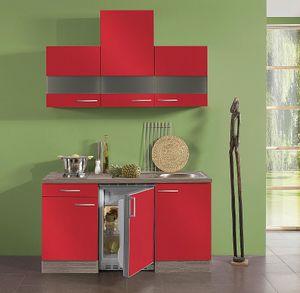 Singleküche mit Elektrogeräten Imola 150 cm breit in rot glänzend mit Glas Hängeschränken