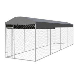 Möbel Outdoor-Hundezwinger mit Überdachung 8x2x2,4 m Größe:760 x 192 x 235 cm Tier & Haustierbedarf,Haustierbedarf,Hundebedarf,Hundezwinger & -ausläufe🐰6721