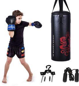 COSTWAY 10KG Boxsack-Set mit 8oz Boxhandschuhen, Punchingsack für Kinder und Jugendliche, Punching Bag, Boxing Bag inkl. Deckenhaken und Springseil