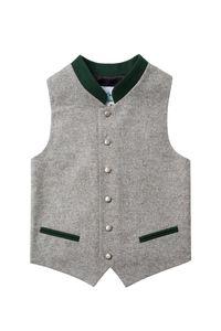 Isar Trachten Kinder Trachtenweste grau grün 004048 Größe: 152