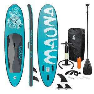 ECD Germany Aufblasbares Stand Up Paddle Board Maona   308 x 76 x 10 cm   Türkis   PVC   bis 120kg   Pumpe Tragetasche Zubehör   SUP Board Paddling Board Paddelboard Surfboard   verschiedene Farben
